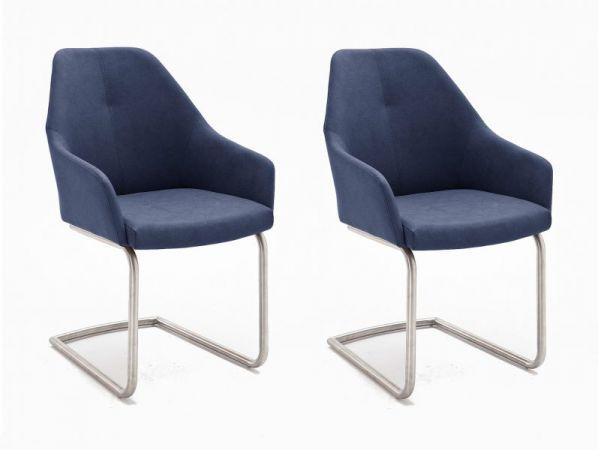 2 x Stuhl Madita in Nachtblau Kunstleder und Edelstahl Freischwinger Esszimmerstuhl 2er Set Armlehnenstuhl Schalenstuhl