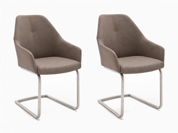 2 x Stuhl Madita in Taupe Kunstleder und Edelstahl Freischwinger Esszimmerstuhl 2er Set Armlehnenstuhl Schalenstuhl