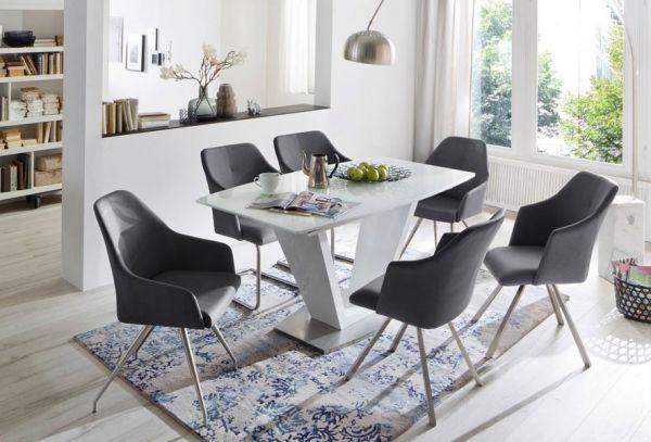 2 x Stuhl Madita in Nachtblau Kunstleder und Edelstahl 4-Fuß eckig Esszimmerstuhl 2er Set Armlehnenstuhl Schalenstuhl