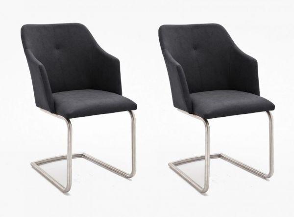 2 x Stuhl Madita in Anthrazit Kunstleder und Edelstahl Freischwinger Esszimmerstuhl 2er Set Armlehnenstuhl Schalenstuhl