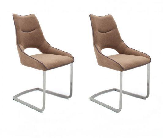2 x Stuhl Aldrina in Cappuccino Filzoptik und Edelstahl Freischwinger Kantrohr Esszimmerstuhl 2er Set