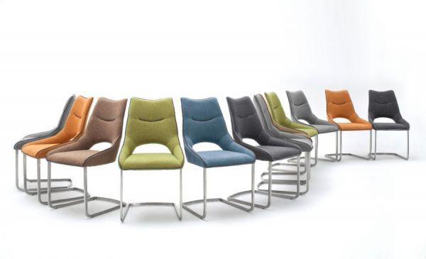 2 x Stuhl Aldrina in Curry Filzoptik und Edelstahl Freischwinger Kantrohr Esszimmerstuhl 2er Set