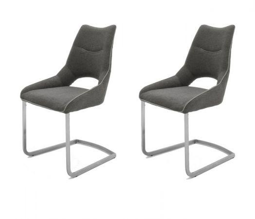 2 x Stuhl Aldrina in Grau Filzoptik und Edelstahl Freischwinger Kantrohr Esszimmerstuhl 2er Set