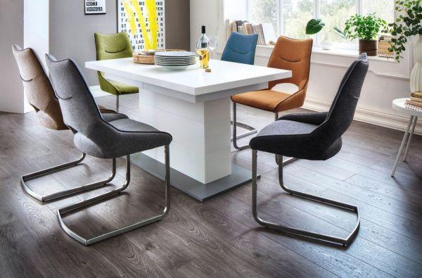 2 x Stuhl Aldrina in Hellgrau Filzoptik und Edelstahl Freischwinger Kantrohr Esszimmerstuhl 2er Set