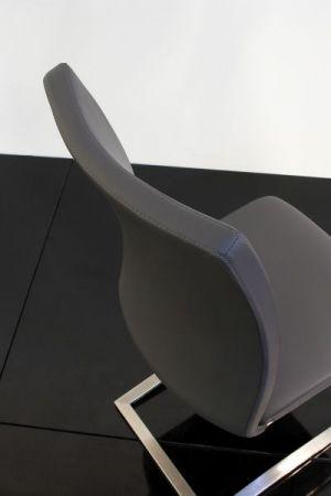 2 x Stuhl Arco in Schwarz Kunstleder und Edelstahl Freischwinger Flachrohr Esszimmerstuhl 2er Set