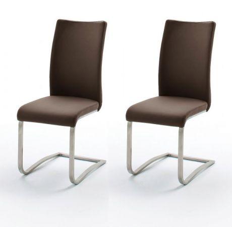2 x Stuhl Arco in Braun Kunstleder und Edelstahl Freischwinger Flachrohr Esszimmerstuhl 2er Set