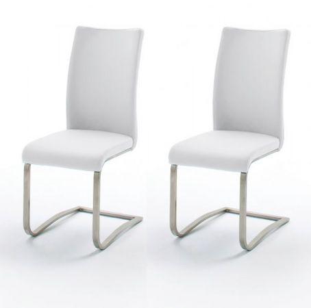 2 x Stuhl Arco in Weiß Kunstleder und Edelstahl Freischwinger Flachrohr Esszimmerstuhl 2er Set