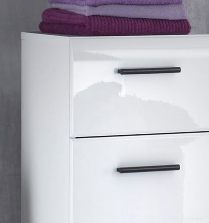 Badschrank Hochschrank weiß Hochglanz 30x182 cm Badmöbel Skin
