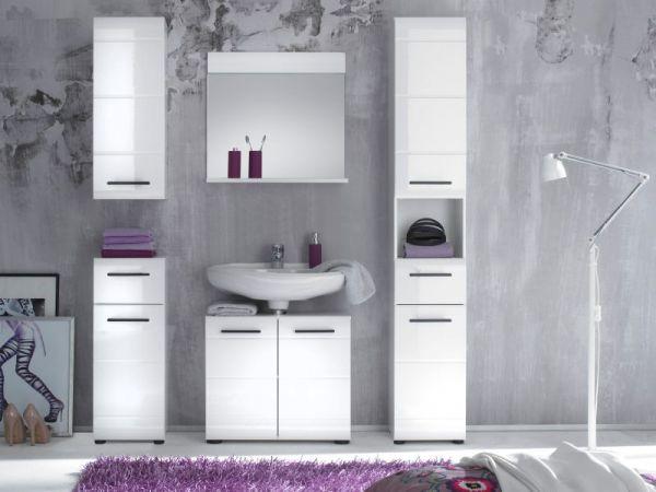 Badezimmer Hochschrank Skin in Hochglanz weiß Badschrank 30 x 182 cm Badmöbel