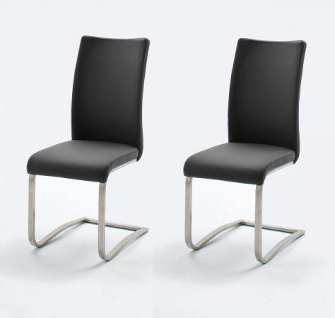 2 x Stuhl Arco in Schwarz Leder und Edelstahl Freischwinger Flachrohr Esszimmerstuhl 2er Set