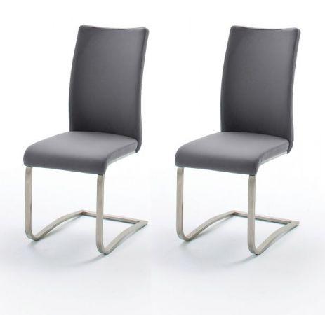 2 x Stuhl Arco in Grau Leder und Edelstahl Freischwinger Flachrohr Esszimmerstuhl 2er Set