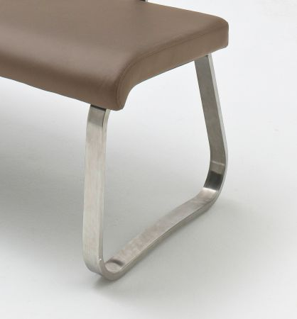 Sitzbank Arco in Cappuccino Kunstleder und Edelstahl Flachrohr Küchenbank mit Kufengestell Polsterbank 155 cm