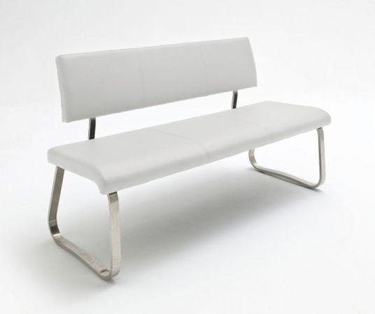 Sitzbank Arco in Weiß Kunstleder und Edelstahl Flachrohr Küchenbank mit Kufengestell Polsterbank 155 cm