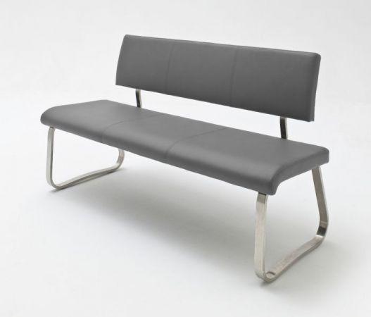 Sitzbank Arco in Grau Leder und Edelstahl Flachrohr Küchenbank mit Kufengestell Polsterbank 155 cm
