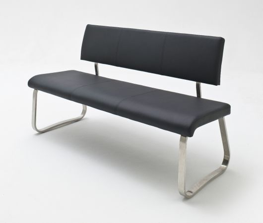 Sitzbank Arco in Schwarz Leder und Edelstahl Flachrohr Küchenbank mit Kufengestell Polsterbank 155 cm