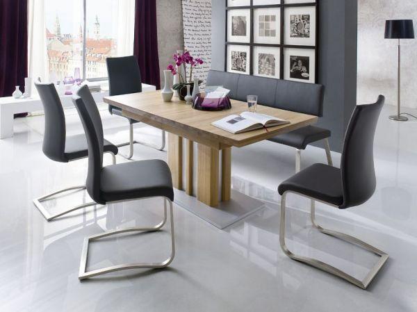 Sitzbank Arco in Weiß Leder und Edelstahl Flachrohr Küchenbank mit Kufengestell Polsterbank 155 cm