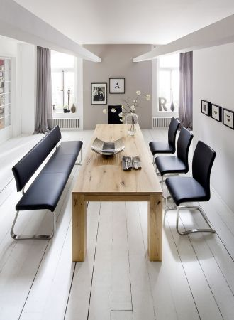 Sitzbank Arco in Schwarz Kunstleder und Edelstahl Flachrohr Küchenbank mit Kufengestell Polsterbank 175 cm