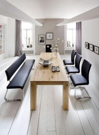 Sitzbank Arco in Weiß Kunstleder und Edelstahl Flachrohr Küchenbank mit Kufengestell Polsterbank 175 cm