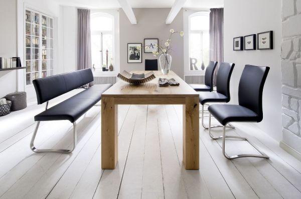 Sitzbank Arco in Braun Leder und Edelstahl Flachrohr Küchenbank mit Kufengestell Polsterbank 175 cm