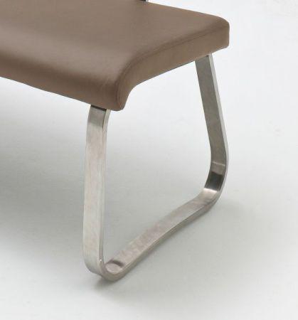 Sitzbank Arco in Cappuccino Leder und Edelstahl Flachrohr Küchenbank mit Kufengestell Polsterbank 175 cm