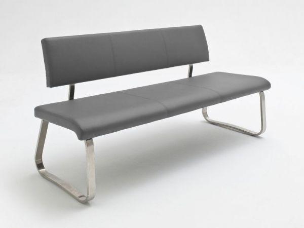 Sitzbank Arco in Grau Leder und Edelstahl Flachrohr Küchenbank mit Kufengestell Polsterbank 175 cm