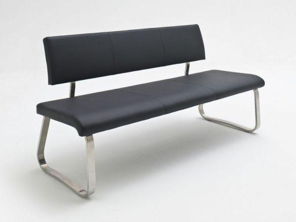 Sitzbank Arco in Schwarz Leder und Edelstahl Flachrohr Küchenbank mit Kufengestell Polsterbank 175 cm