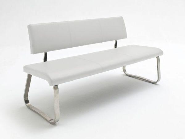 Sitzbank Arco in Weiß Leder und Edelstahl Flachrohr Küchenbank mit Kufengestell Polsterbank 175 cm