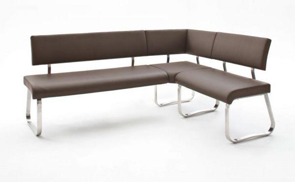 Eckbank Arco in Braun Kunstleder und Edelstahl Flachrohr Küchenbank mit Kufengestell Sitzbank 200 x 150 cm