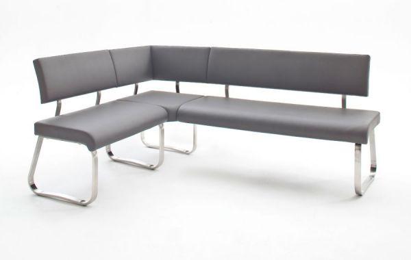 Eckbank Arco in Grau Kunstleder und Edelstahl Flachrohr Küchenbank mit Kufengestell Sitzbank 200 x 150 cm