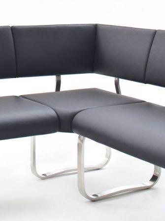 Eckbank Arco in Schwarz Kunstleder und Edelstahl Flachrohr Küchenbank mit Kufengestell Sitzbank 200 x 150 cm