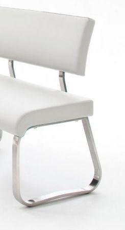 Eckbank Arco in Weiß Kunstleder und Edelstahl Flachrohr Küchenbank mit Kufengestell Sitzbank 200 x 150 cm