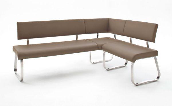 Eckbank Arco in Cappuccino Leder und Edelstahl Flachrohr Küchenbank mit Kufengestell Sitzbank 200 x 150 cm