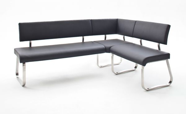 Eckbank Arco in Schwarz Leder und Edelstahl Flachrohr Küchenbank mit Kufengestell Sitzbank 200 x 150 cm