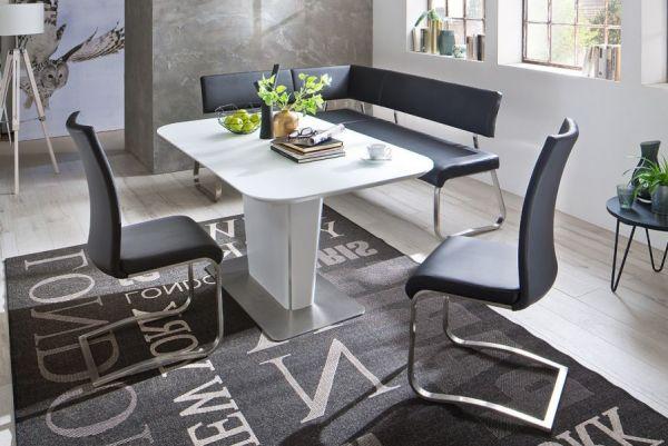 Eckbank Arco in Weiß Leder und Edelstahl Flachrohr Küchenbank mit Kufengestell Sitzbank 200 x 150 cm