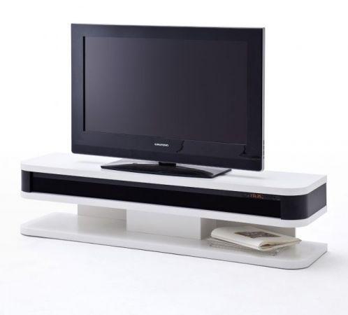 TV-Lowboard Junior mit Soundsystem in matt weiß und schwarz echt Lack Fernsehtisch inkl. Fernbedienung 151 x 35 cm