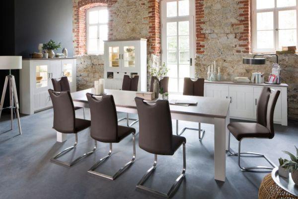 2 x Stuhl Artos in Braun Kunstleder und Edelstahl Freischwinger mit Griffloch Flachrohr Esszimmerstuhl 2er Set