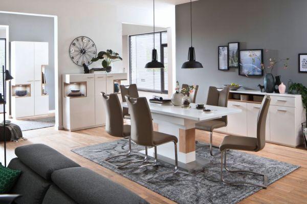 2 x Stuhl Artos in Cappuccino Kunstleder und Edelstahl Freischwinger mit Griffloch Flachrohr Esszimmerstuhl 2er Set