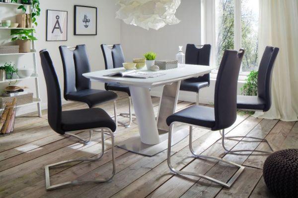 2 x Stuhl Artos in Schwarz Kunstleder und Edelstahl Freischwinger mit Griffloch Flachrohr Esszimmerstuhl 2er Set