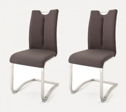 2 x Stuhl Artos in Braun Leder und Edelstahl Freischwinger mit Griffloch Flachrohr Esszimmerstuhl 2er Set