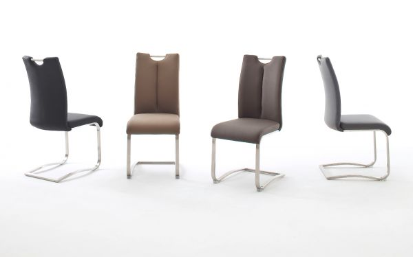 2 x Stuhl Artos in Grau Leder und Edelstahl Freischwinger mit Griffloch Flachrohr Esszimmerstuhl 2er Set