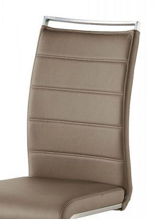 2 x Stuhl Pescara in Cappuccino Kunstleder und Edelstahl Freischwinger mit Griffleiste Flachrohr Esszimmerstuhl 2er Set