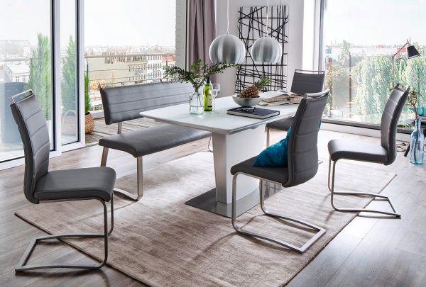 2 x Stuhl Pescara in Grau Kunstleder und Edelstahl Freischwinger mit Griffleiste Flachrohr Esszimmerstuhl 2er Set