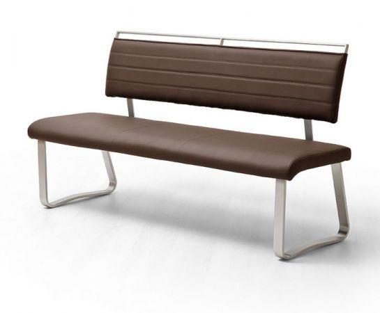 Sitzbank Pescara in Braun Kunstleder und Edelstahl Flachrohr Küchenbank mit Kufengestell Polsterbank 155 cm