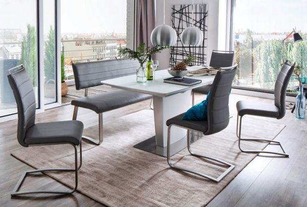 Sitzbank Pescara in Grau Kunstleder und Edelstahl Flachrohr Küchenbank mit Kufengestell Polsterbank 155 cm