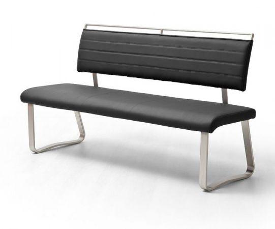 Sitzbank Pescara in Schwarz Kunstleder und Edelstahl Flachrohr Küchenbank mit Kufengestell Polsterbank 155 cm