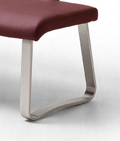 Sitzbank Pescara in Bordeaux Kunstleder und Edelstahl Flachrohr Küchenbank mit Kufengestell Polsterbank 175 cm