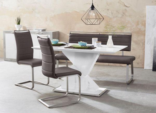 Sitzbank Pescara in Braun Kunstleder und Edelstahl Flachrohr Küchenbank mit Kufengestell Polsterbank 175 cm
