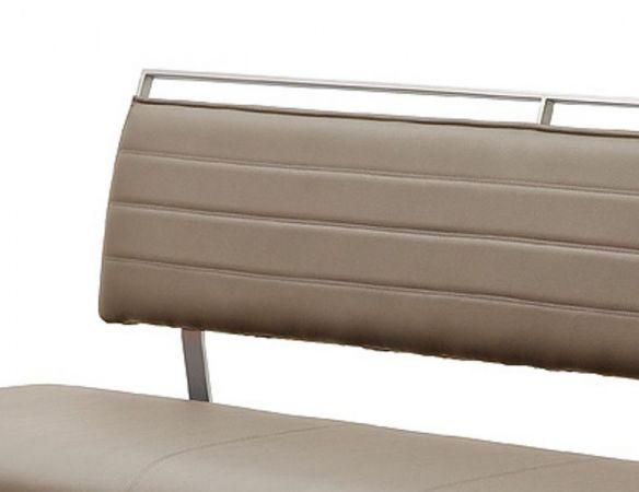 Sitzbank Pescara in Cappuccino Kunstleder und Edelstahl Flachrohr Küchenbank mit Kufengestell Polsterbank 175 cm