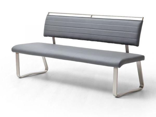 Sitzbank Pescara in Grau Kunstleder und Edelstahl Flachrohr Küchenbank mit Kufengestell Polsterbank 175 cm