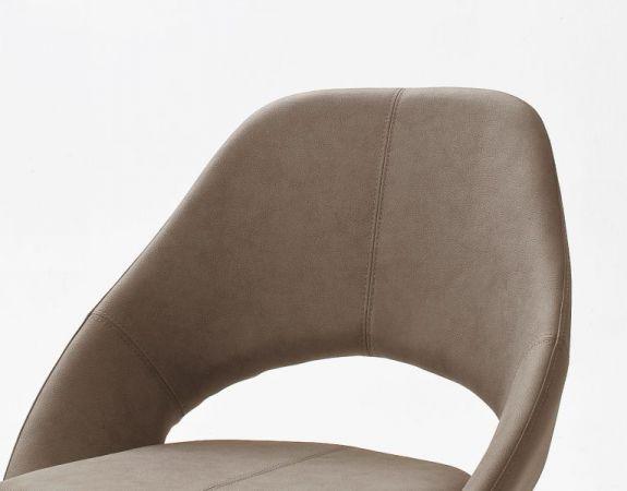2 x Stuhl Dajana in Taupe Kunstleder und Edelstahl Kufenstuhl Esszimmerstuhl 2er Set